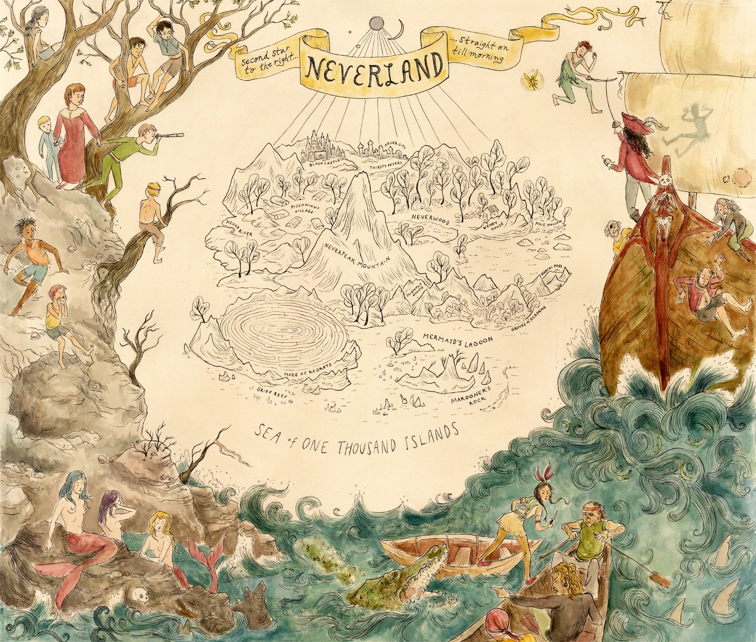 Illustrated Maps Neverland
