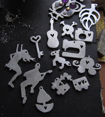 jewellery, pewter, cut out, saw pierced, silver, aluminium, silhouette
