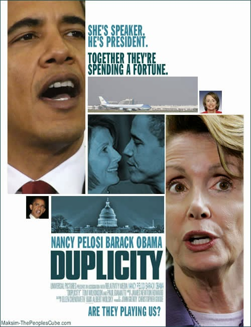 Funny Obama Spoof Movies Duplicity - She's speaker, he's president.  Together they're spending a fortune