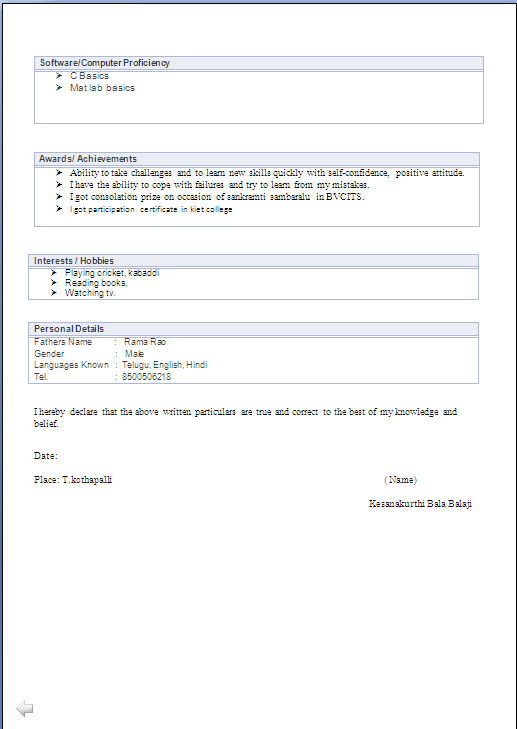 ATRACTIVE RESUME FORMAT FOR A B.TECH. EEE FRESHER - Resume Formats