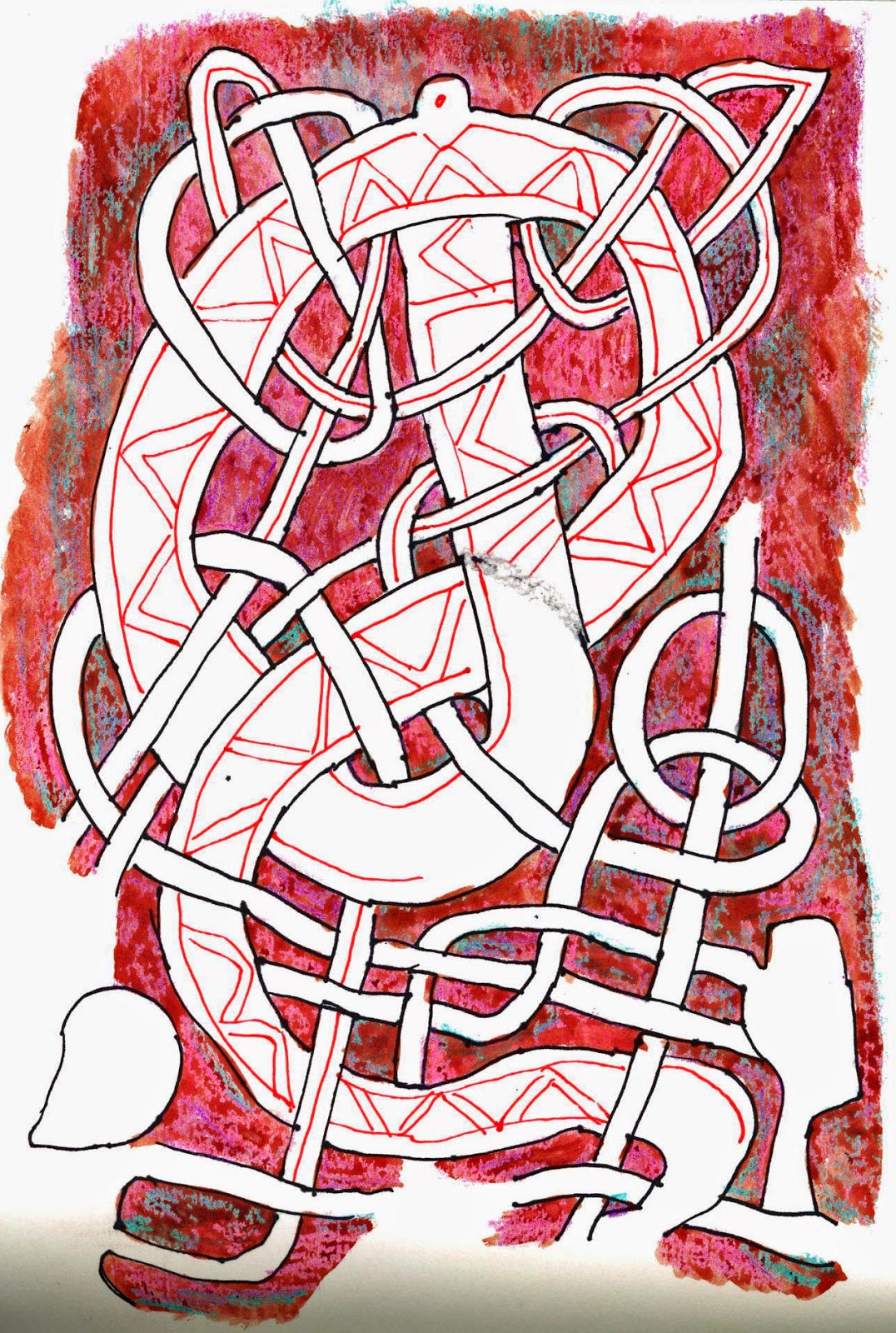 My mixed media sketch of more knotwork - perhaps with a dragon?