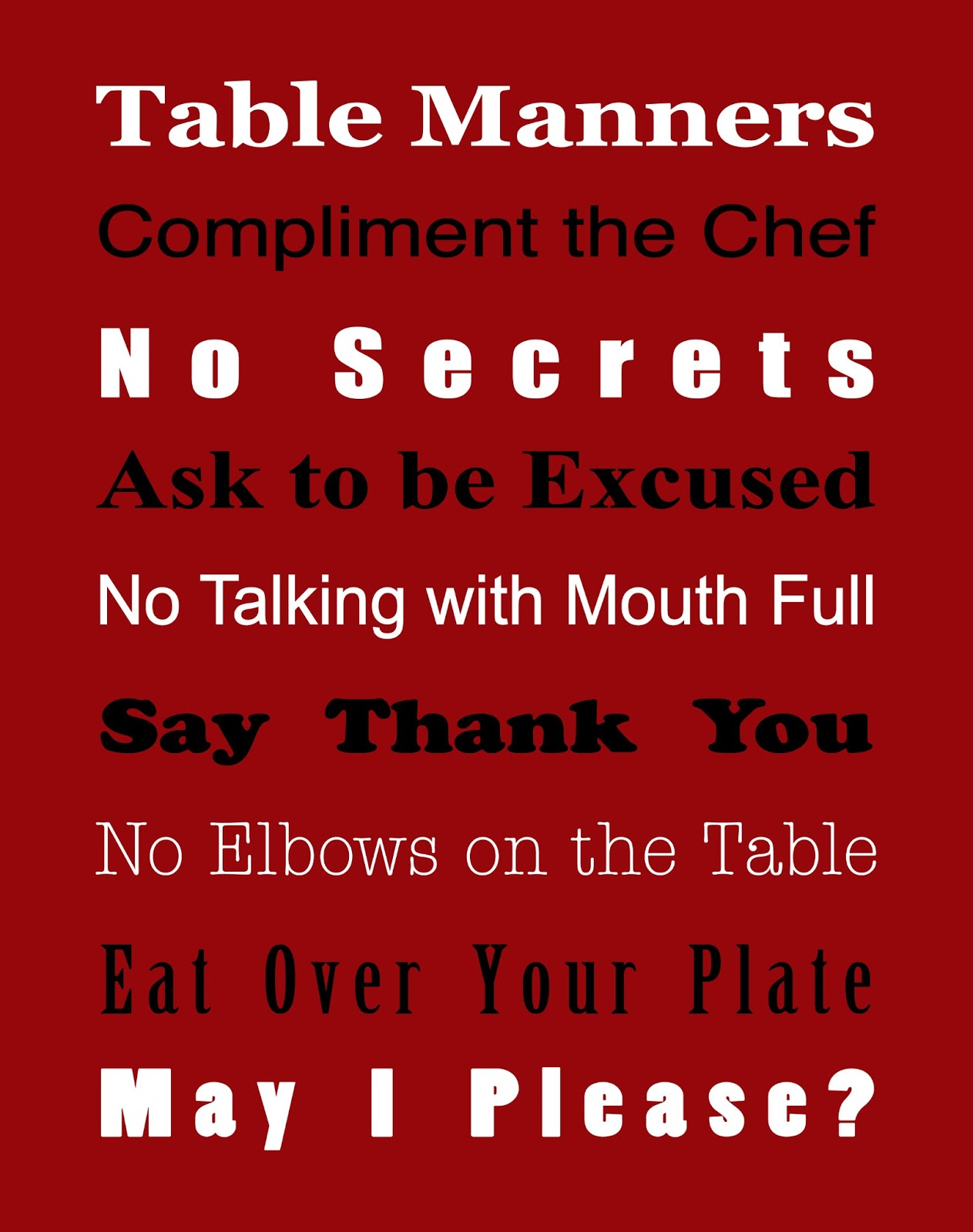 Basic Table Manners Free Printable True Aim : table manners from trueaimeducation.com size 1263 x 1600 jpeg 173kB