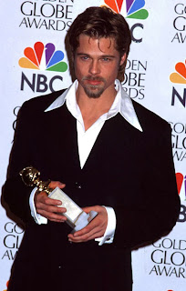 Brad Pitt receiving Golden Globe for his performance in 12 Monkey movie.
