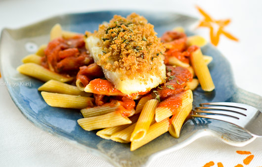 Gluten-free Breaded Cod Medallions with Penne and Marinara Sauce