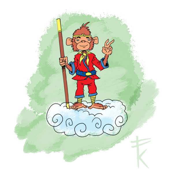 Monkey King Cartoon http://frankkennedysillustrations.blogspot.com/2011/04/monkey-king.html