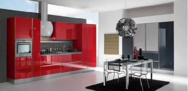 Cocinas modernas color rojo italianas colores en casa - Cocinas color rojo ...