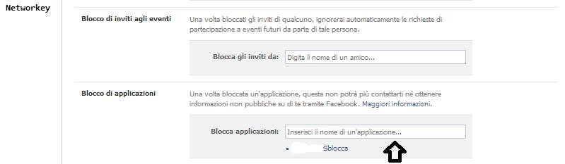 applicazioni facebook rimuovere blocco