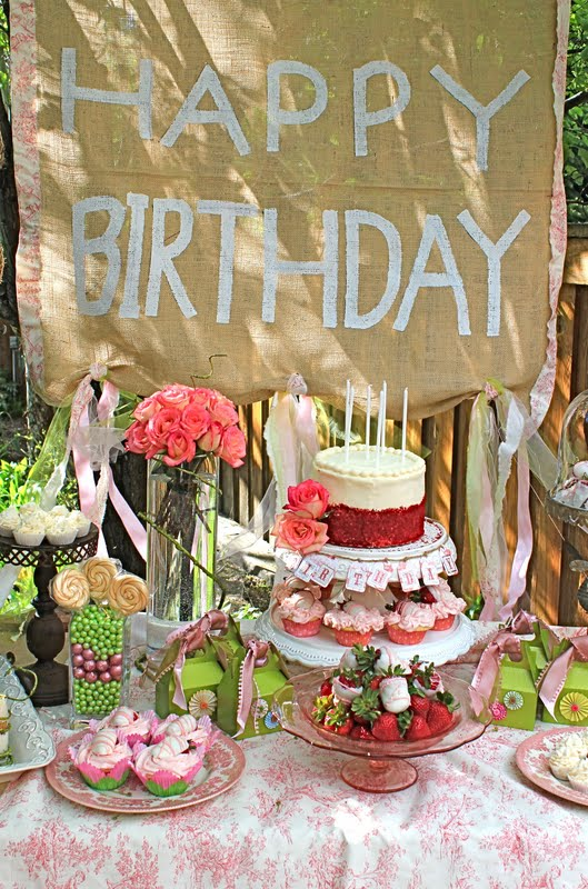 Shabby Chic Burlap Birthday Sign