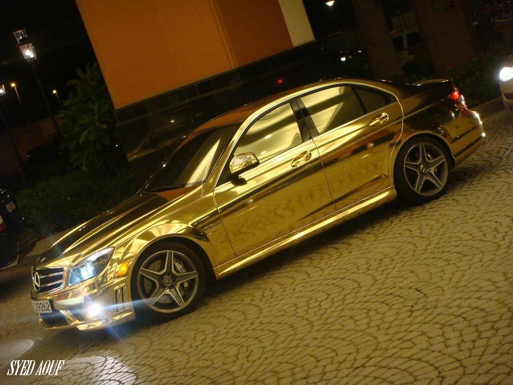 Fast speed cars dubai golden cars for Chrome mercedes benz