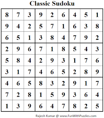 Classic Sudoku (Fun With Sudoku #91) Solution