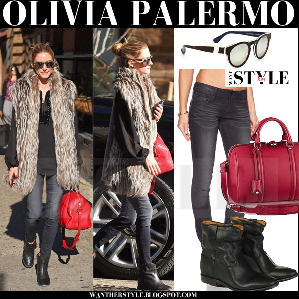 Olivia Palermo in fur vest, grey skinny black orchid jude jeans, black ankle isabel marant cluster boots with red bag what she wore streetstyle