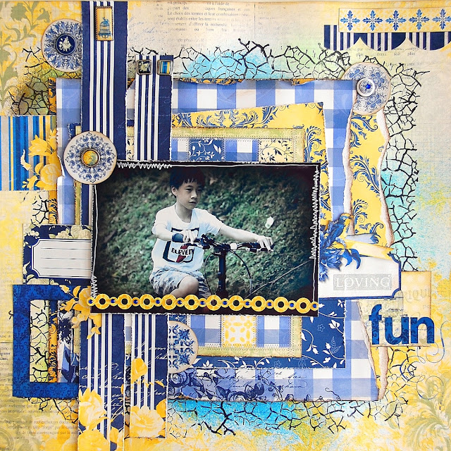 Loving Fun Layout by Irene Tan using BoBunny Genevieve collection