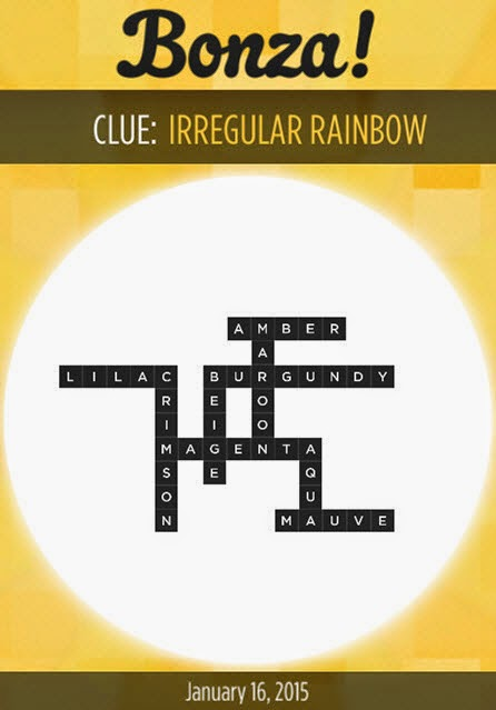 Bonza Daily Word Puzzle Answers January 16, 2015
