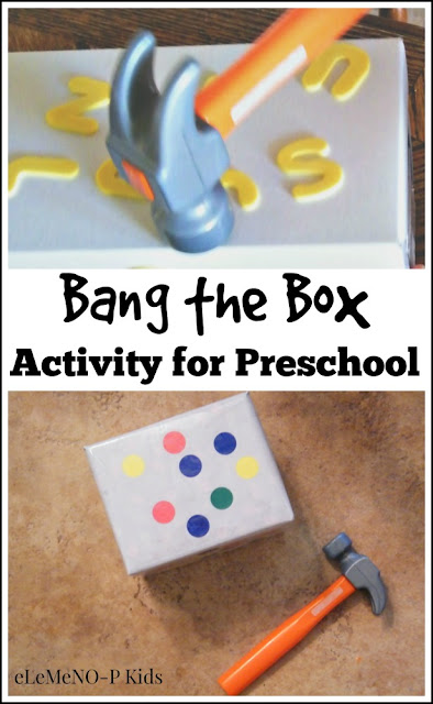 Turn banging into learning with this simple bang the box activity for preschool. It is so easy to adapt this to learning shapes, colors or letters using stickers!