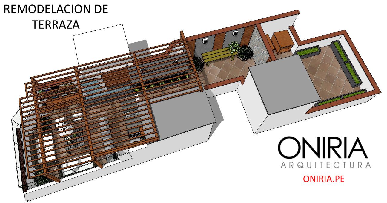 Oniria dise o de terraza y parrilla en azotea for Diseno de bano y lavanderia