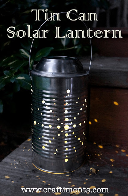 Learn how to make a recycled tin can lantern powered by a solar light.