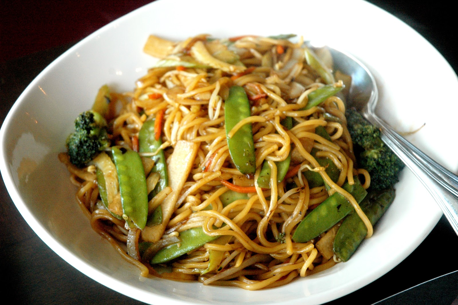 Lo Mein , stir-fried egg noodles with mushrooms, bean sprouts, bok ...