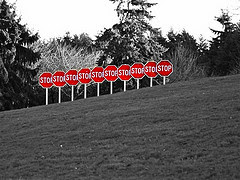 Splashed Stop Signs by Jimbohayz via Flickr and a Creative Commons license