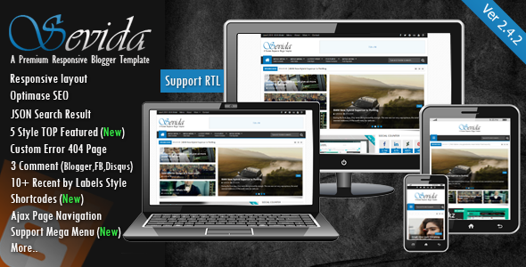 Free Download Sevida V2.4.2 Magazine Blogger Template