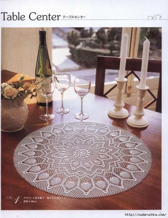 Crochet knitting handicraft table center for Html table center