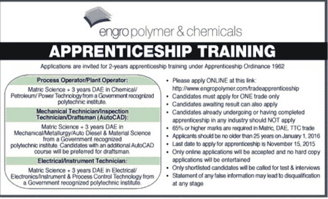 Apprenticeship in Engro Polymer for DAE