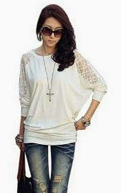 80s Style Loose-fit Batwing Sleeve Top