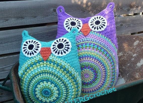 Free Crochet Pattern For Owl Pillow : MATIN LUMINEUX: Crochet Chouette