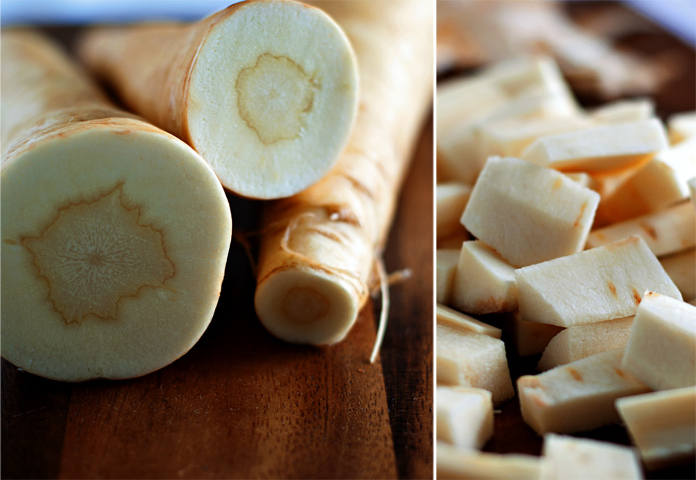 close up photographs of while parsnips and chopped parsnips