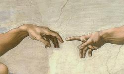 Michelangelo - l'uomo e Dio (particolare dal Giudizio Universale, Cappella Sistina)