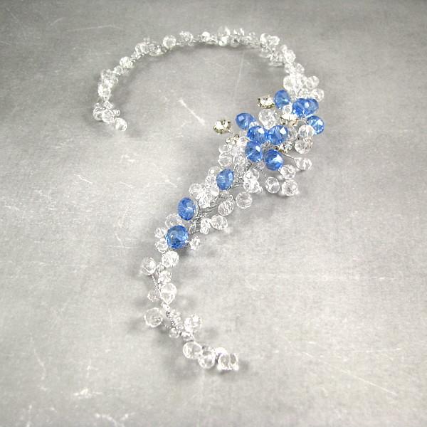 Stroik ślubny kryształowy, niebieska gałązka Airy.