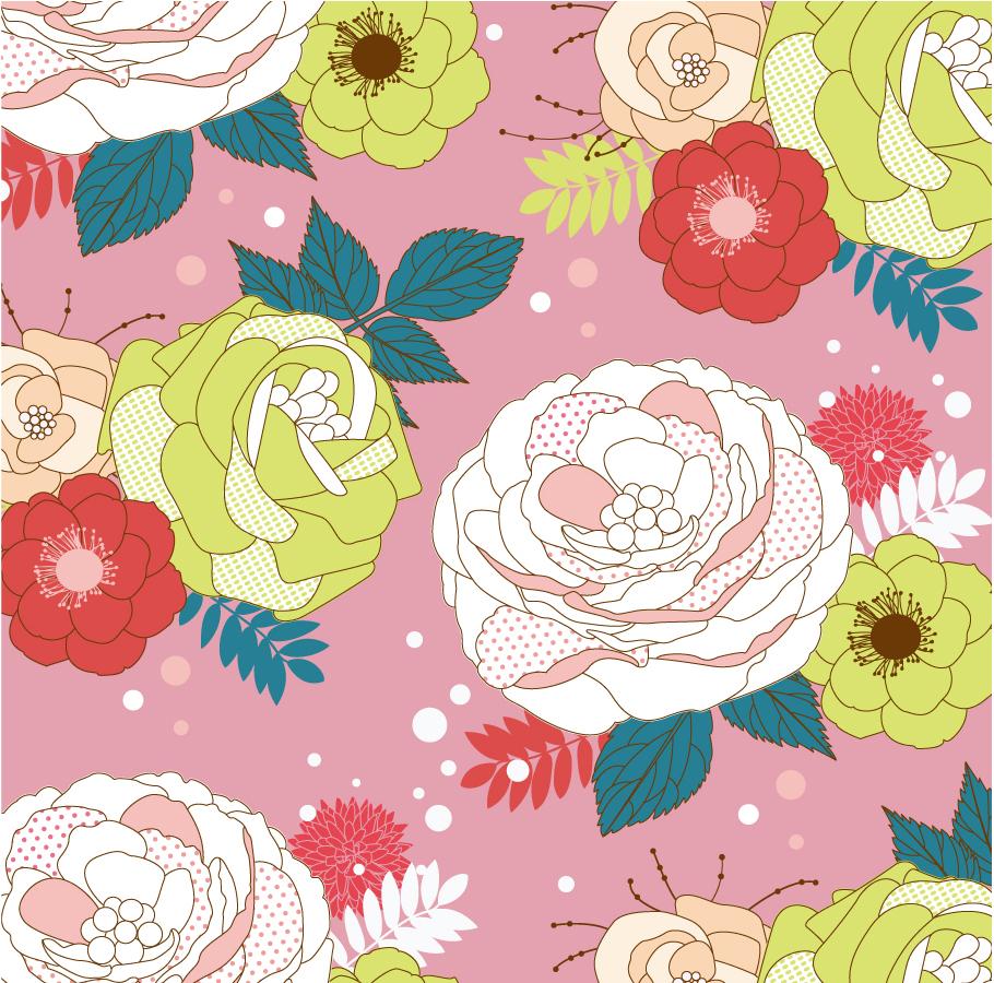 大輪の花ビラの背景 Seamlessly Flower Vector Background イラスト素材