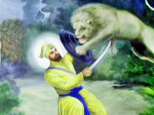 Sher Da Shikar Wallpaper of Gobind Singh ji - A Lion Hunt