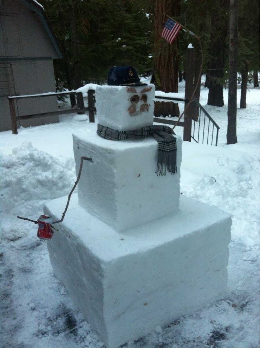 A perfectly un-perfect snowman.