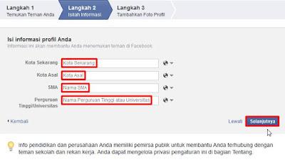 informasi profil facebook