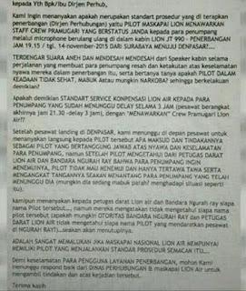 Laporan Lambertus Maengkom - Kasus Lion Air