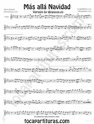 Tubescore Beyond by Gloria Estefan sheet music for Violin Christmas Carol Music Score Mas alla