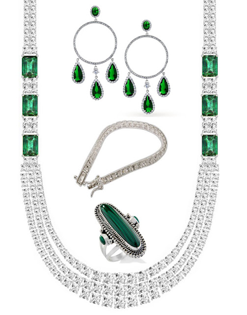 Fashion Jewelry Set in Sterling Silver & Gemstones