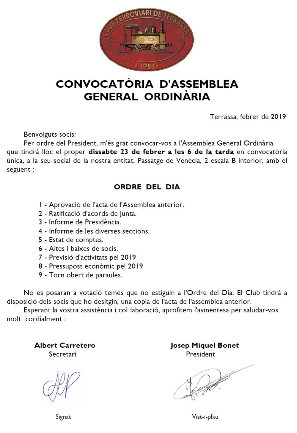 Convocatòria a l'Assamblea General Ordinària
