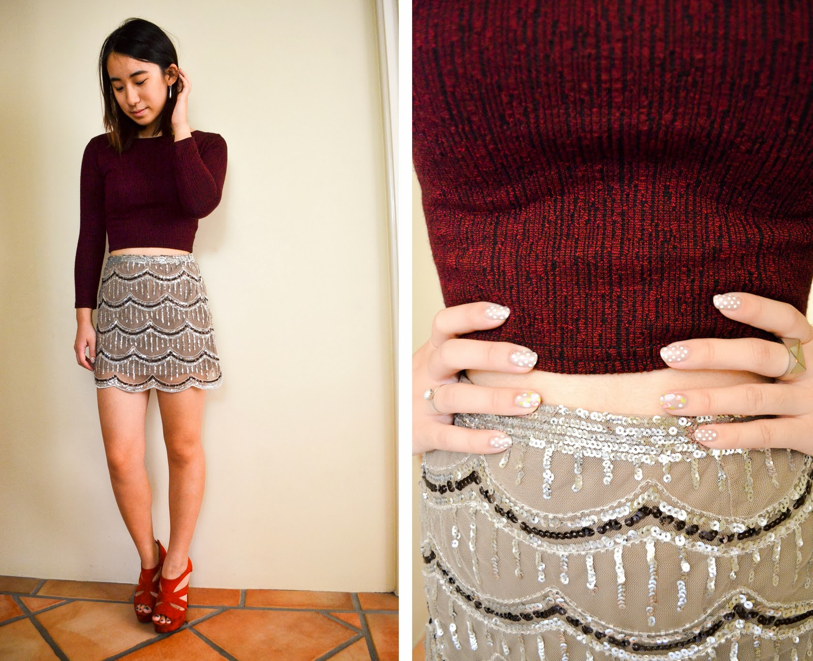 red maroon burlesque 1920s skirt scallop sequin crop top long sleeved mini heels rings earrings silver inspiration outfit looks