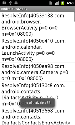 List all installed activities