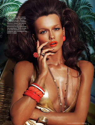 vogue beauty, vogue russia, woman with tan skin, palm trees