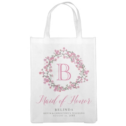Personalized Floral Wreath Monogram Maid of Honor Tote Bag