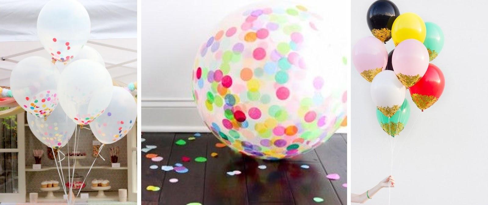 Globos decorados con confetti