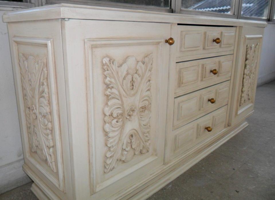 Mueble blanco envejecido con betun de judea - Muebles blanco envejecido ...