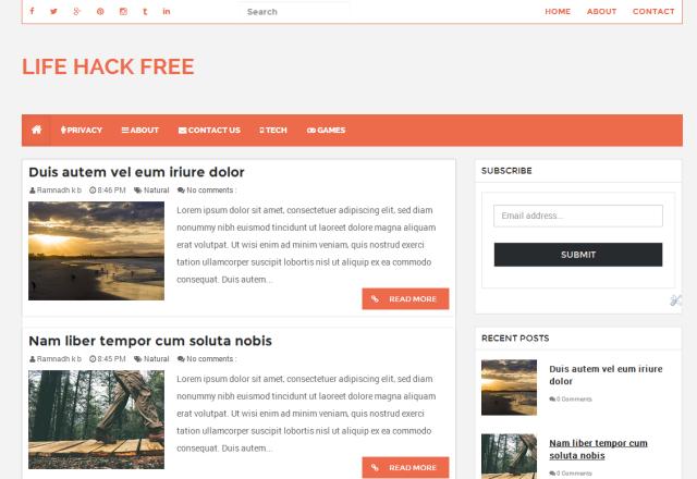 LifeHack Free Responsive Blogger Template ( Blogspot Theme )