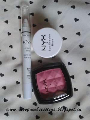 NYX Eye shadow base in White, NYX Jumbo Pencil in Milk, NYX Blush in Peach India