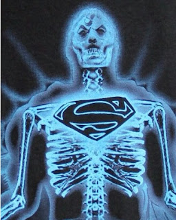 Close up of Superman X-Ray Tee Shirt from Amazon