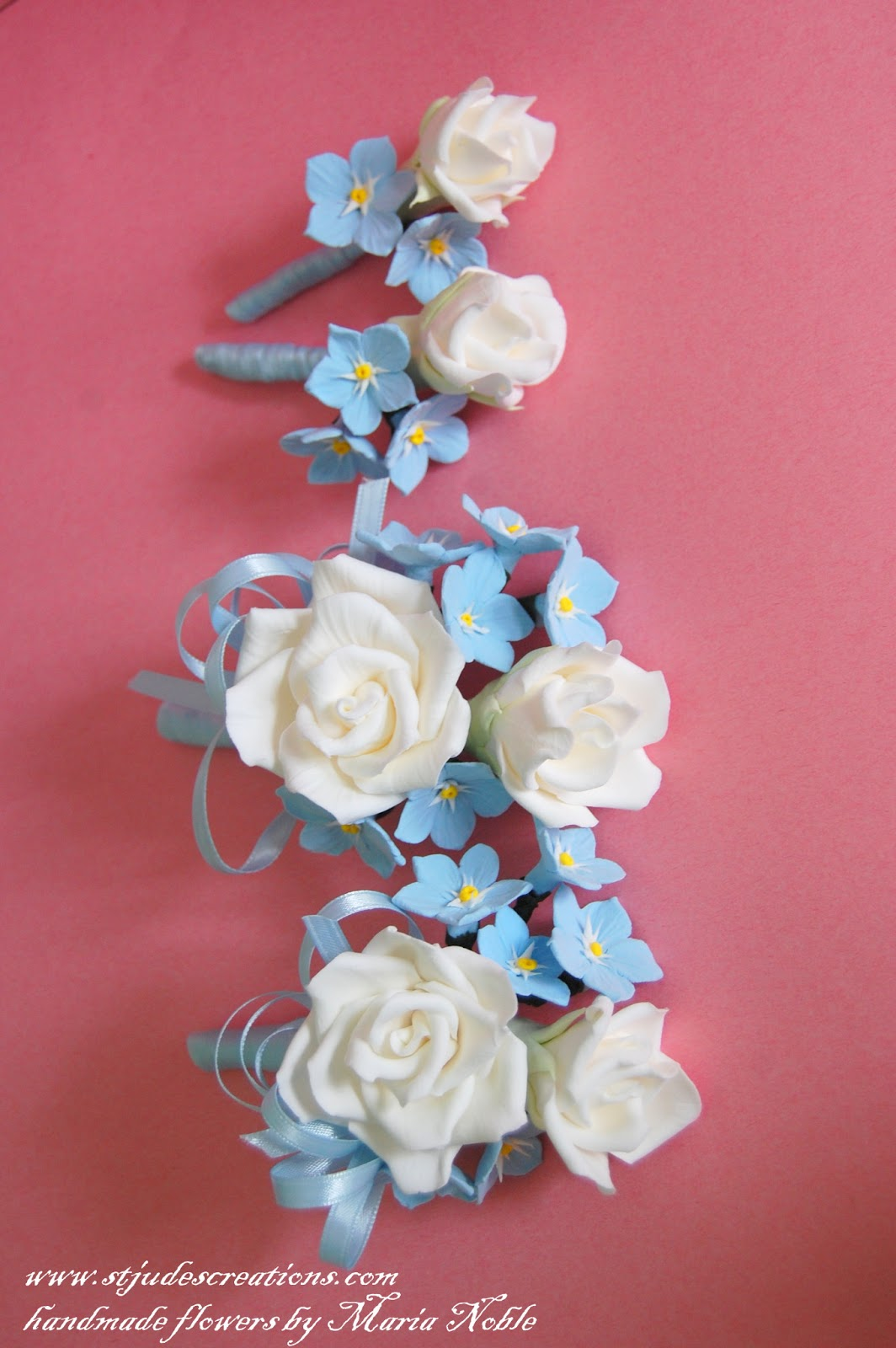 Blue Forget Me Nots And White Roses Wedding Bouquet Everlasting In