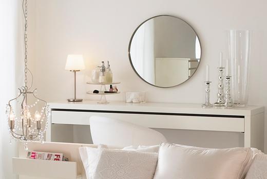 Tu organizas espelhos redondos penteadeiras charmosas - Ikea specchio trucco ...