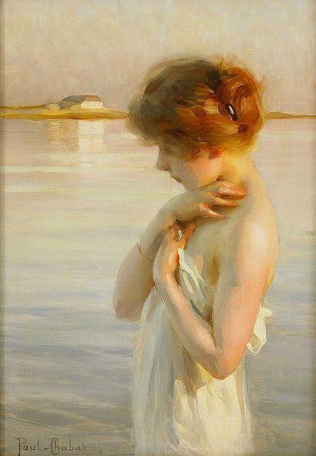 histoire de l'art , analyse de peinture et tableau Emile chabas peinture de femme au bord de l'eau naïades sirènes tableaux images romantiques féériques